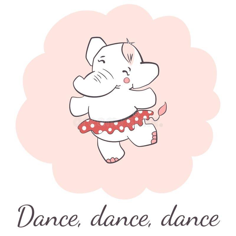 Ilustração isolada do vetor do elefante dança bonito ilustração royalty free