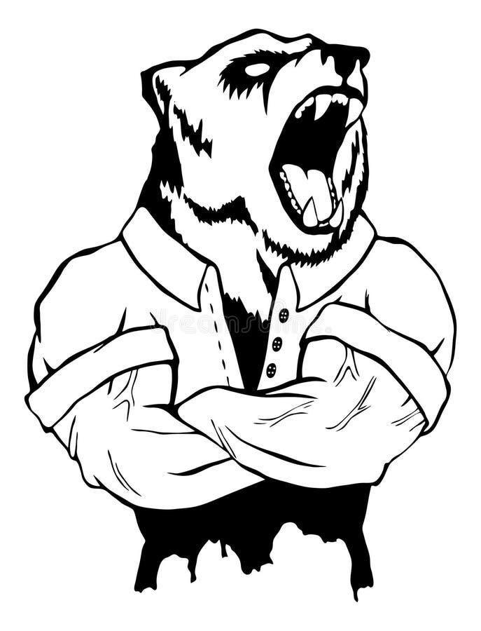 Ilustração isolada do vetor um homem selvagem forte do urso ilustração royalty free