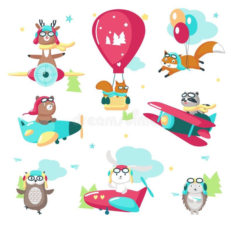 Ilustração isolada dos animais vetor piloto engraçado bonito ilustração royalty free
