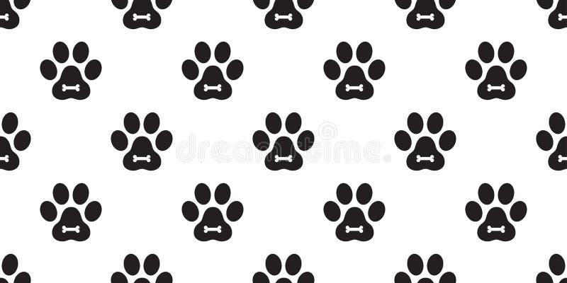 Ilustração isolada lenço do fundo da telha do papel de parede da repetição do gatinho da cópia do pé do osso do cachorrinho de Ca ilustração stock