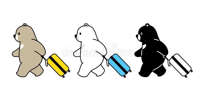 Ilustração isolada logotipo do ícone do personagem de banda desenhada do porto do ar do viajante do saco do curso do urso polar d ilustração stock