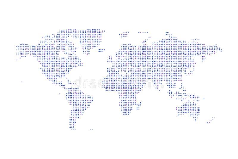 Ilustração isolada pontilhada cor do mapa do mundo vetor político ilustração stock