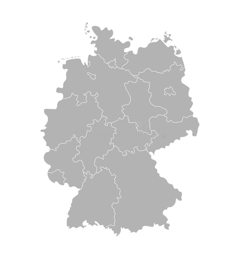 Ilustração isolada vetor do mapa administrativo simplificado de Alemanha Beiras das regiões dos estados Silhuetas cinzentas ilustração stock