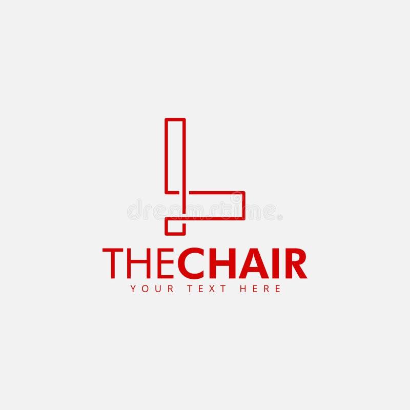 Ilustração isolada vetor do molde do projeto do logotipo da cadeira ilustração stock