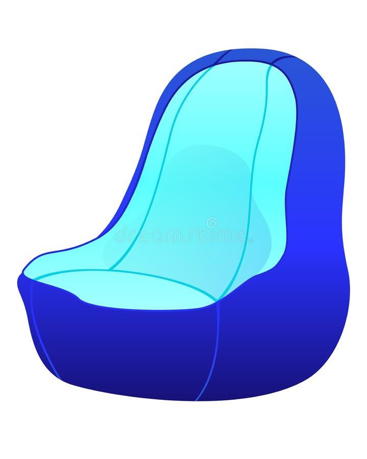 Ilustração isométrica azul do vetor da cadeira do saco de feijão ilustração do vetor