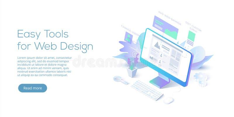 Ilustração isométrica conceptual do vetor do design web Web site int ilustração do vetor