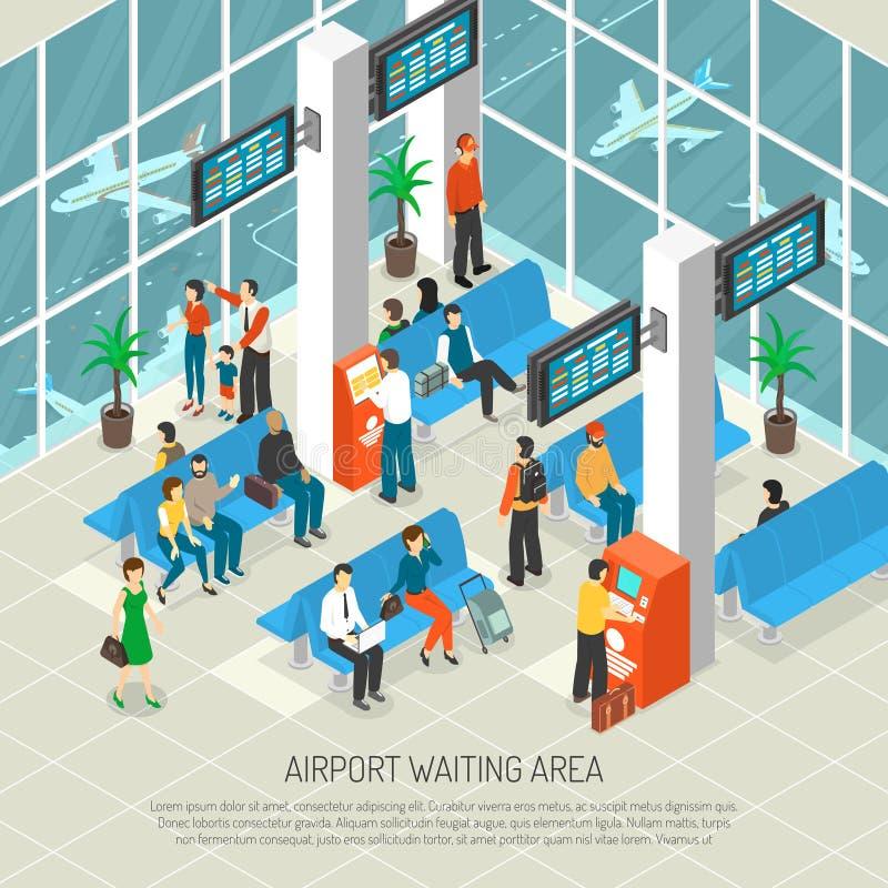 Ilustração isométrica da área de espera do aeroporto ilustração stock