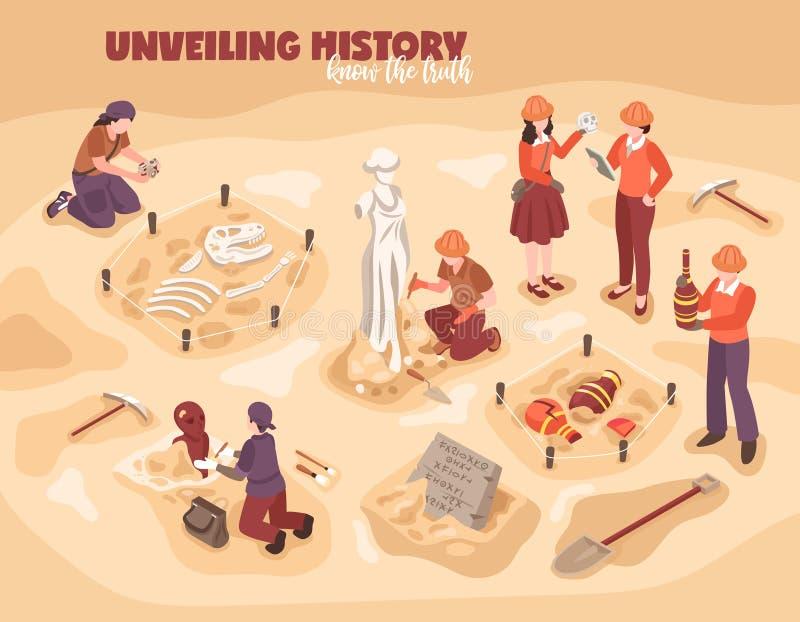 Ilustração isométrica da arqueologia ilustração do vetor