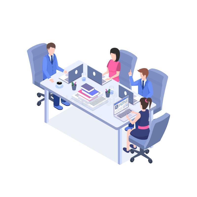 Ilustração isométrica da cor do vetor da reunião de negócios Pessoal de escritório, gerentes, personagens de banda desenhada do e ilustração do vetor