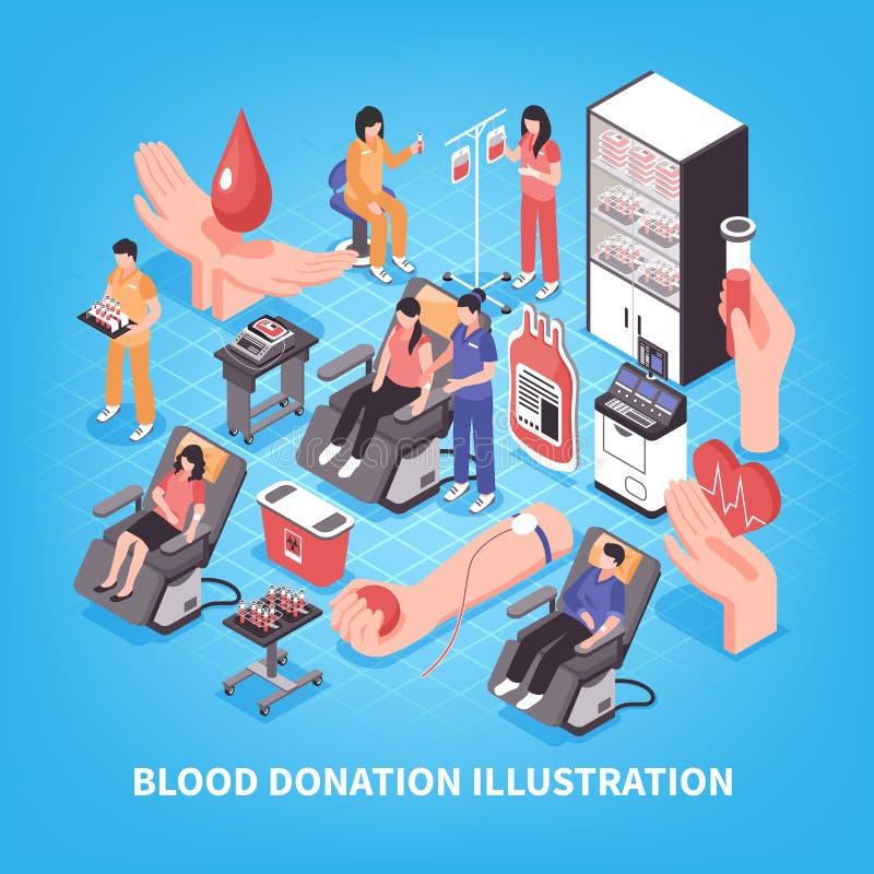 Ilustração isométrica da doação de sangue ilustração royalty free
