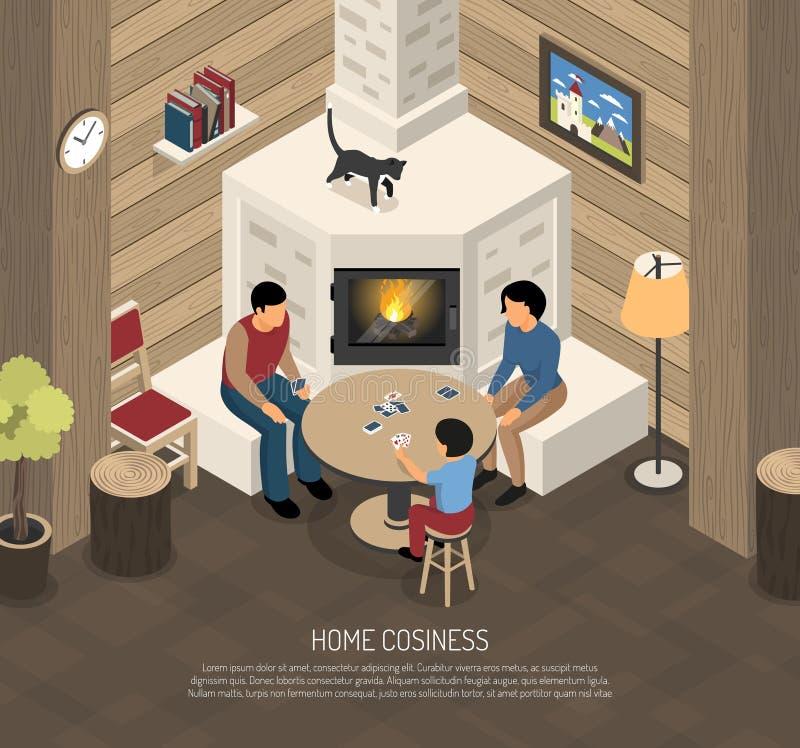 Ilustração isométrica da família do lugar do fogo ilustração stock
