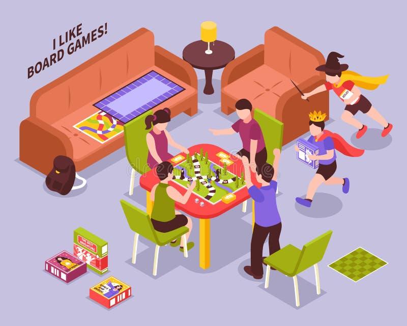 Ilustração isométrica das crianças dos jogos de mesa ilustração do vetor