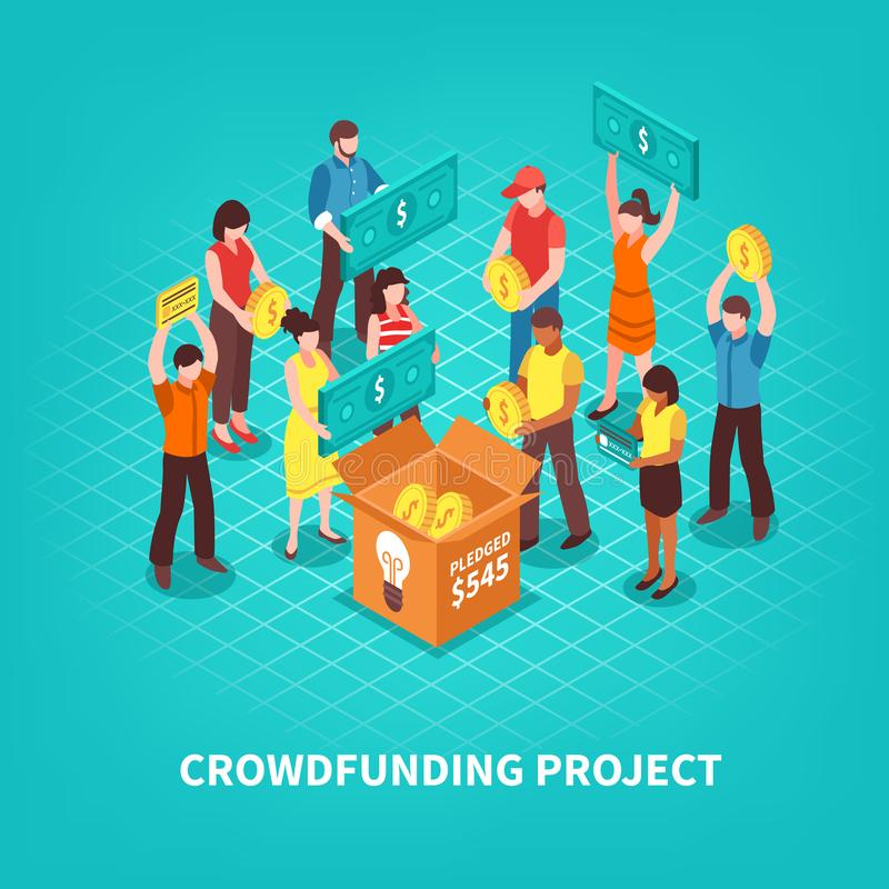 Ilustração isométrica de Crowdfunding ilustração stock