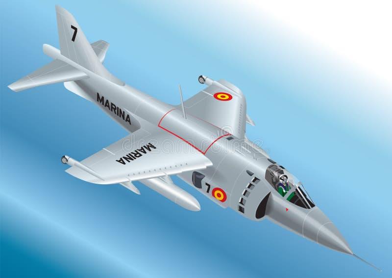Ilustração isométrica detalhada do vetor de um matador espanhol Vertical Take Off Jet Fighter da marinha AV-8S ilustração do vetor