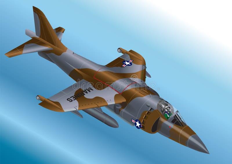 A ilustração isométrica detalhada do vetor de um vertical dos E.U. Marine Corp AV-8A/AV-8B decola Jet Fighter ilustração stock
