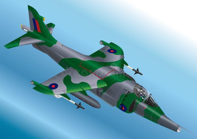 A ilustração isométrica detalhada do vetor de um vertical dos E.U. Marine Corp AV-8A/AV-8B decola o harrier de Jet Fighter ilustração royalty free