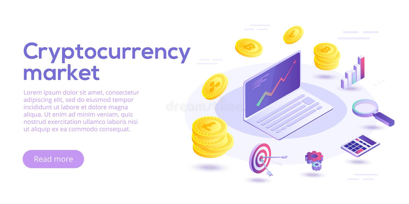 Ilustração isométrica do conceito do vetor de transferência de Cryptocurrency d ilustração royalty free