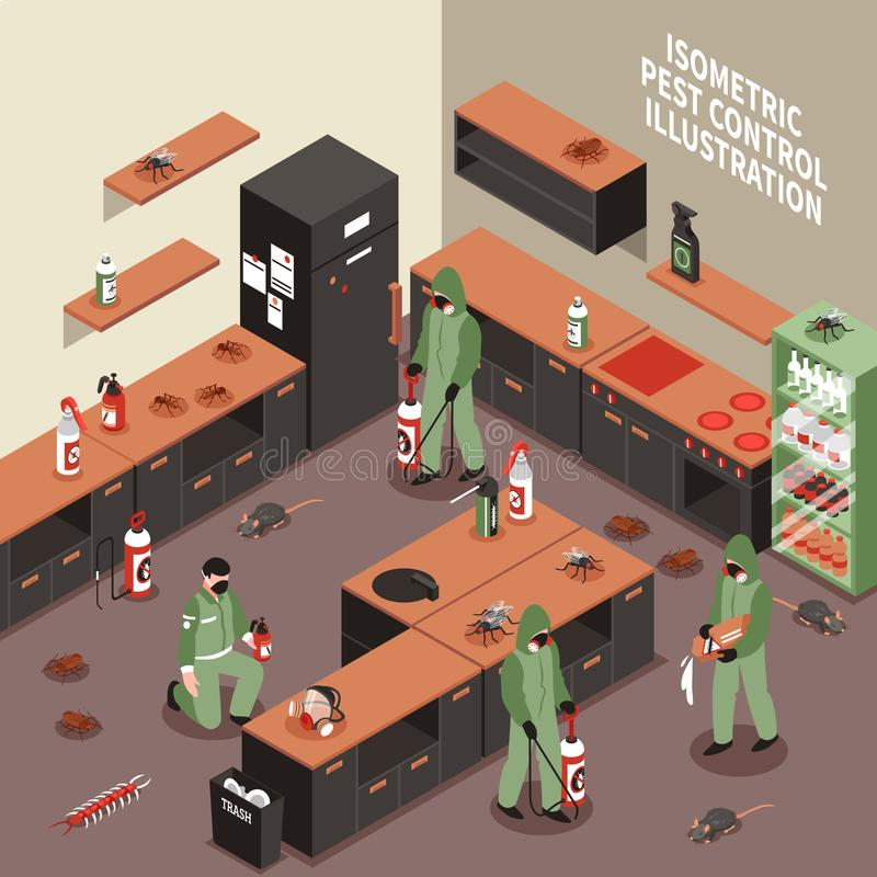 Ilustração isométrica do controlo de pragas ilustração stock