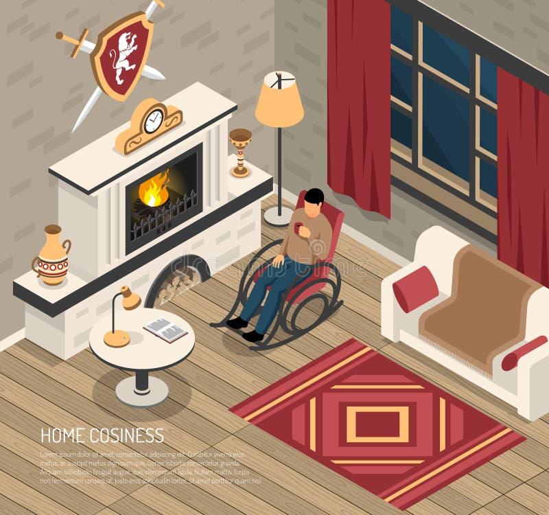 Ilustração isométrica do Cosiness do lugar do fogo ilustração royalty free