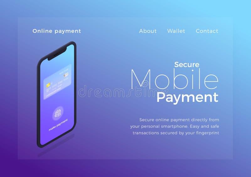 Ilustração isométrica do pagamento móvel Dispositivo de Smartphone com o ui seguro da transação do pagamento da autenticação On-l ilustração do vetor