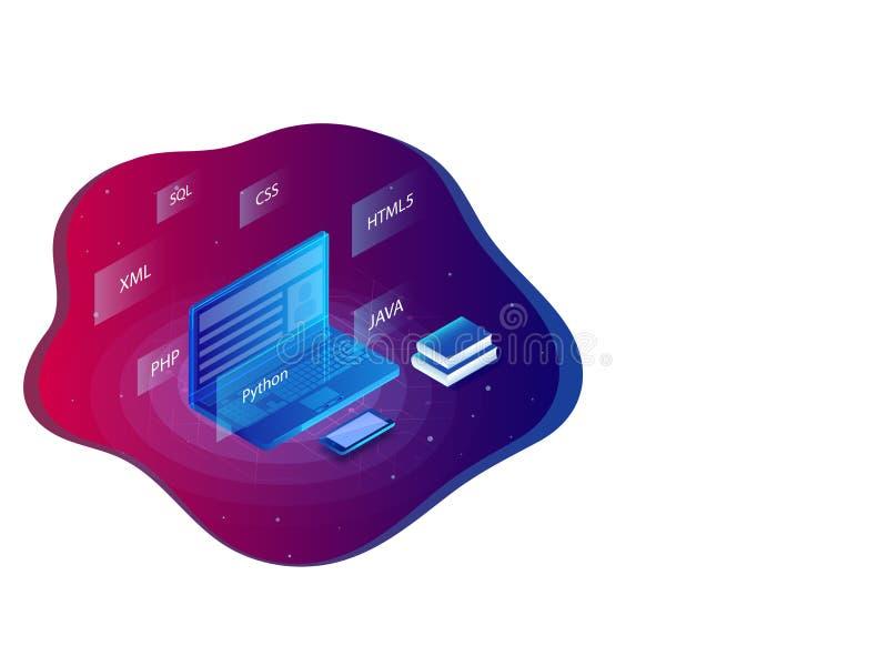 Ilustração isométrica do portátil com o langu de programação diferente ilustração royalty free