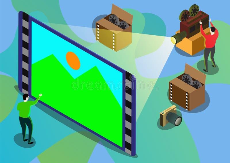 Ilustra??o isom?trica do projeto liso moderno do jogo do cinema ou do v?deo ilustração stock
