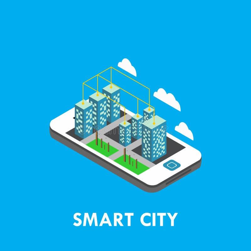 Ilustração isométrica do projeto do molde do vetor de Smart City ilustração royalty free
