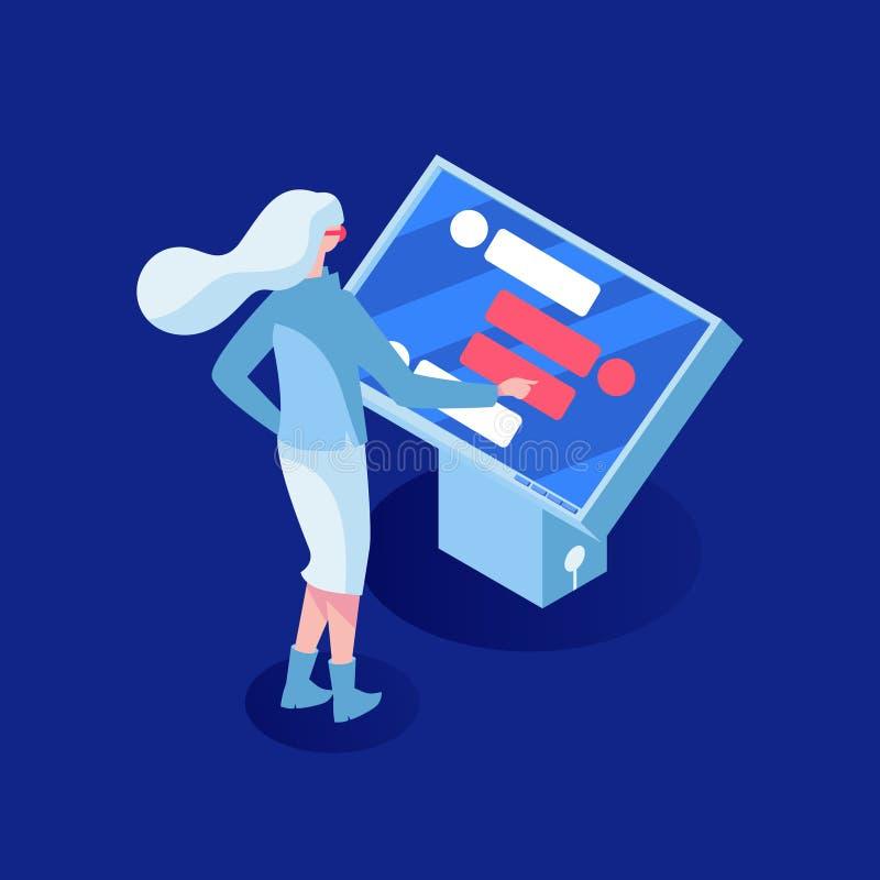 Ilustração isométrica do vetor do apoio ao cliente Intelig?ncia artificial Posição da moça na frente de interativo ilustração royalty free