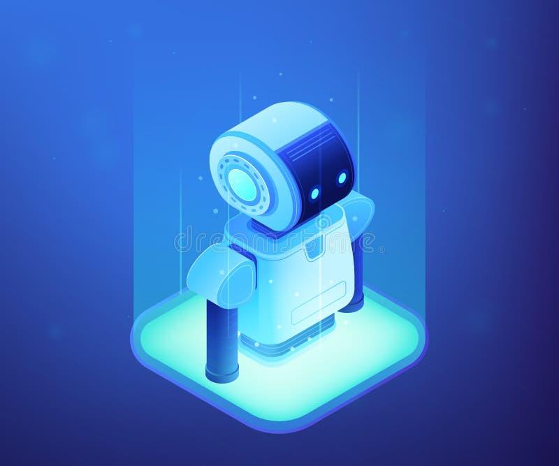 Ilustração isométrica do vetor do conceito da tecnologia da robótica ilustração stock