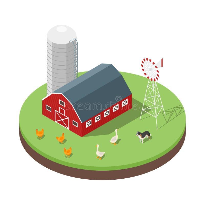 Ilustração isométrica do vetor 3d da exploração agrícola ilustração stock