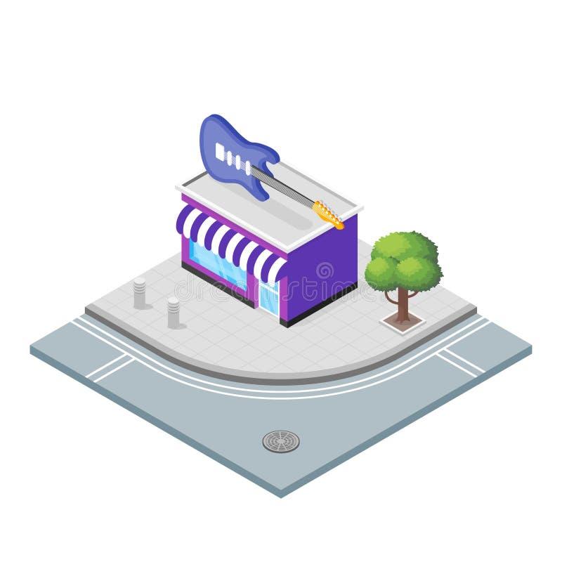 Ilustração isométrica do vetor 3d da loja dos instrumentos musicais ilustração stock