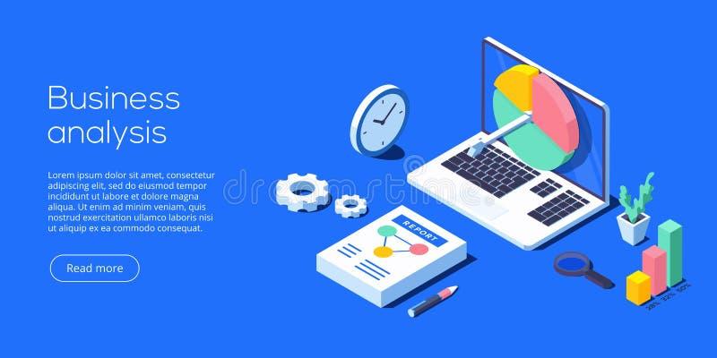 Ilustração isométrica do vetor da análise de negócio Analítica dos dados ilustração stock