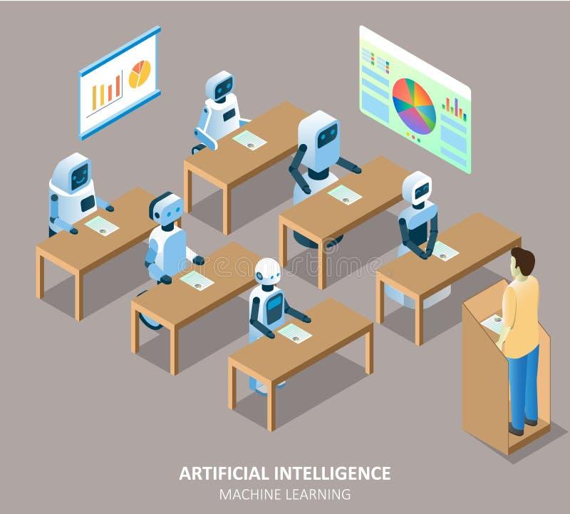 Ilustração isométrica do vetor da aprendizagem de máquina do AI ilustração stock
