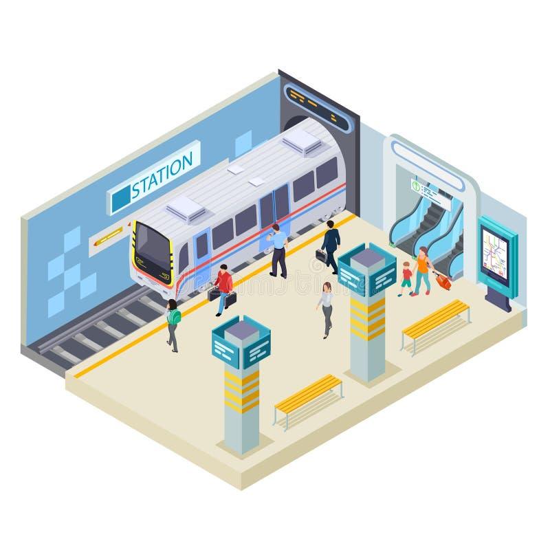 Ilustração isométrica do vetor da estação de metro isolada no branco ilustração royalty free