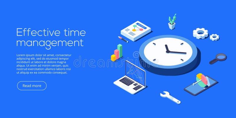 Ilustração isométrica do vetor da gestão de tempo eficaz PR da tarefa ilustração do vetor