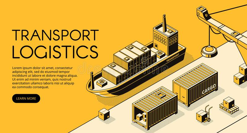 Ilustração isométrica do vetor da logística da carga do navio ilustração stock