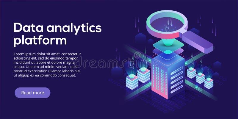 Ilustração isométrica do vetor da plataforma da analítica dos dados Sumário ilustração stock