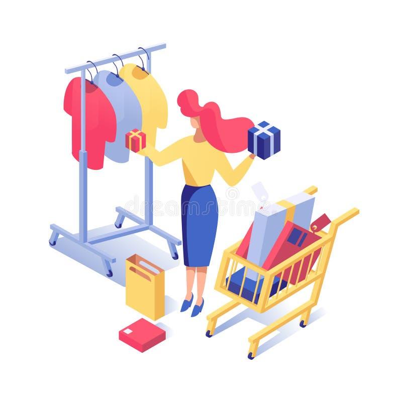 Ilustração isométrica do vetor da roupa da compra da mulher Comprador fêmea que escolhe os presentes, caixas com compras no super ilustração royalty free