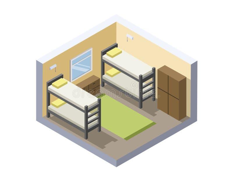 Ilustração isométrica do vetor da sala da pensão ícone barato do hotel ilustração stock