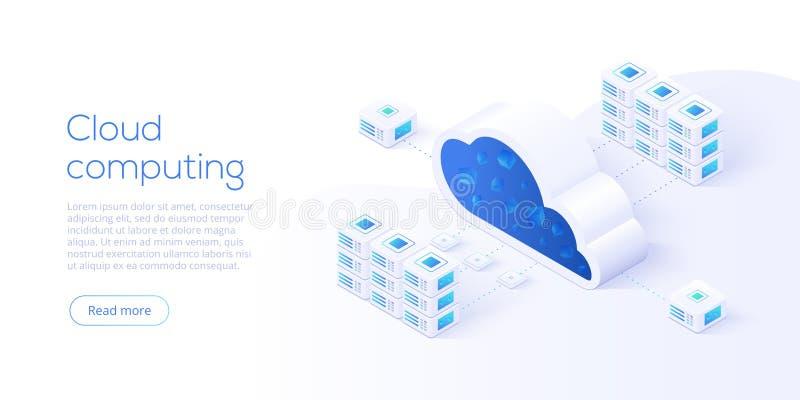 Ilustração isométrica do vetor da transferência do armazenamento da nuvem SE de Digitas ilustração stock