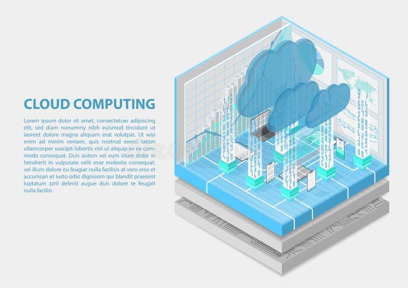 Ilustração isométrica do vetor de Cloud Computing Sumário 3D infographic com dispositivos móveis ilustração stock