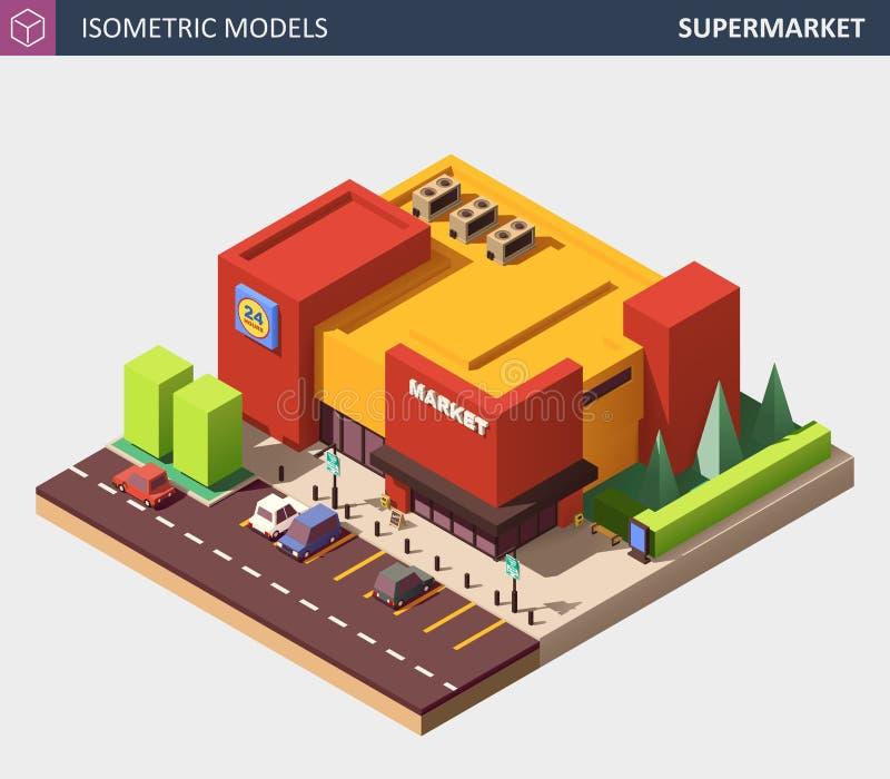 Ilustração isométrica do vetor de uma mercearia do supermercado ilustração do vetor