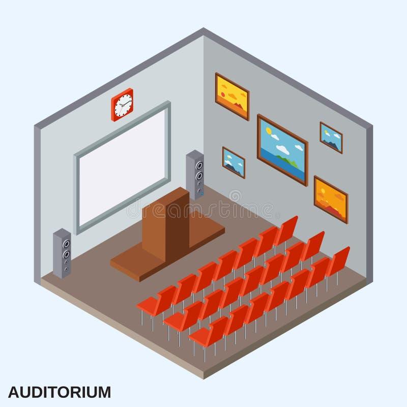 Ilustração isométrica do vetor do auditório ilustração royalty free