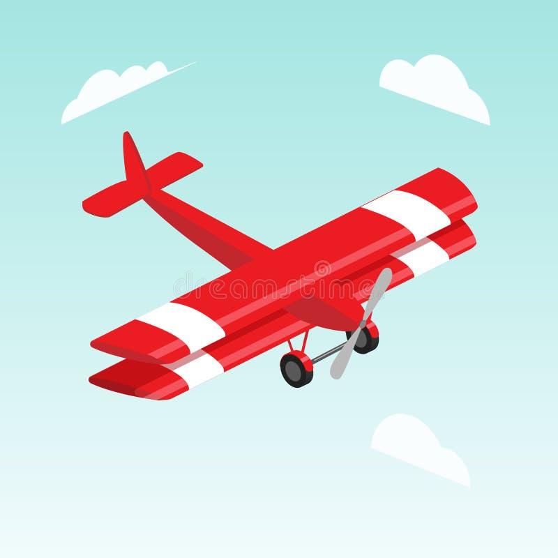 Ilustração isométrica do vetor do avião do biplano ilustração stock