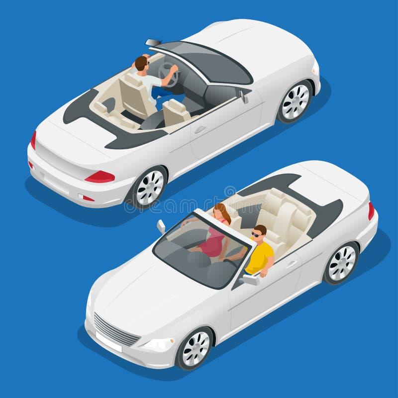 Ilustração isométrica do vetor do carro do Cabriolet Imagem lisa do convertible 3d Transporte para o curso do verão Veículo do ca ilustração do vetor