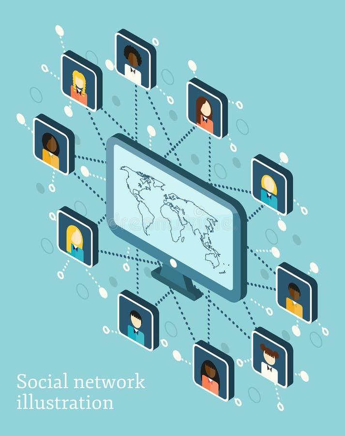 Ilustração isométrica do vetor na rede social ilustração royalty free
