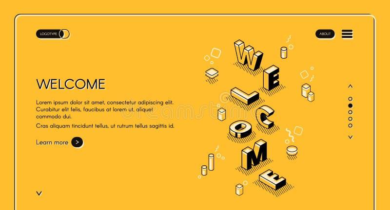 Ilustração isométrica do vetor do página da web bem-vindo ilustração do vetor