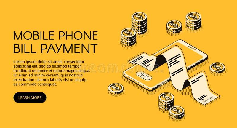 Ilustração isométrica do vetor do pagamento móvel de Bill ilustração do vetor