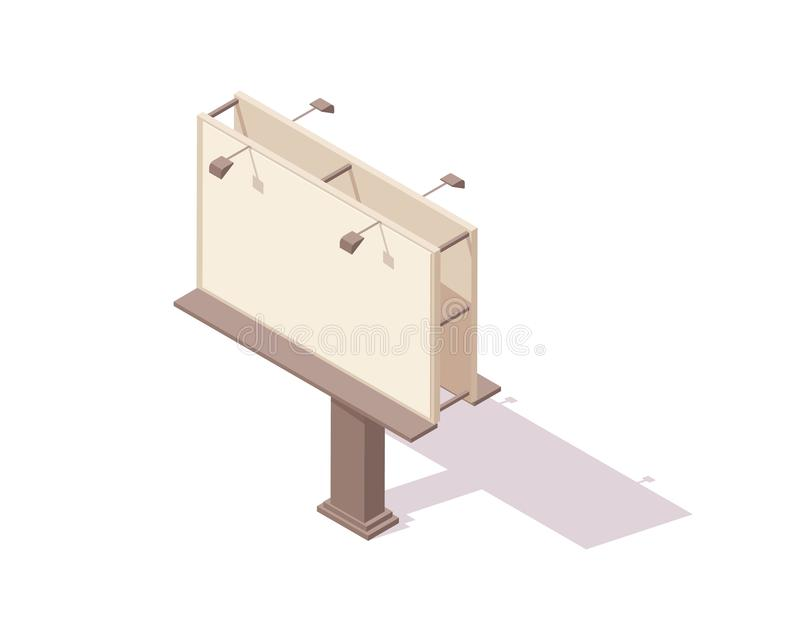 Ilustração isométrica do vetor do quadro de avisos da placa - bigboard vazio da cidade com luzes para o projeto do mercado ou  ilustração do vetor