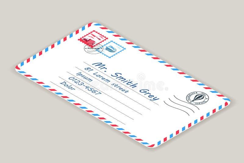 Ilustração isométrica do vetor do selo do cargo da letra do correio do endereço postal do enviamento ilustração do vetor